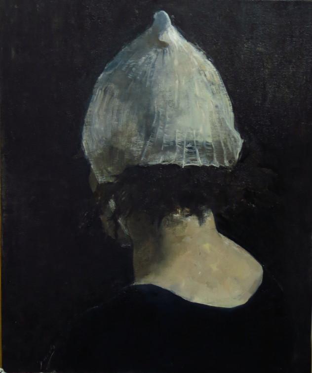 头颅上的白色-网状弹力绷带帽 50x60cm 2014年 布面油画