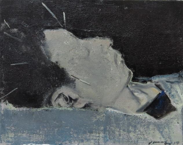 头颅上的白色物0 20x25cm 布面油画 2014