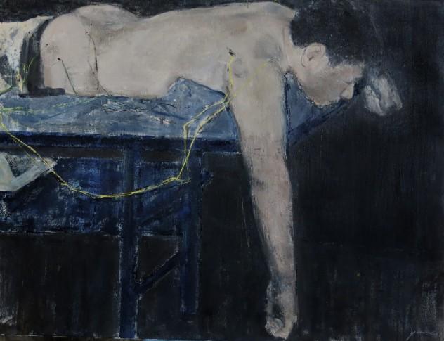 蓝色上的躯体 80x60布面油画 2015. jpg