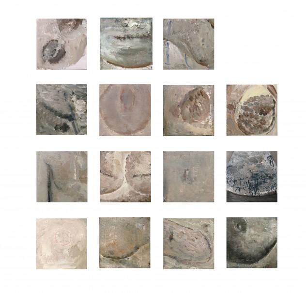 15个乳房 25cm×25cm×15 2016年 布面油画 副本