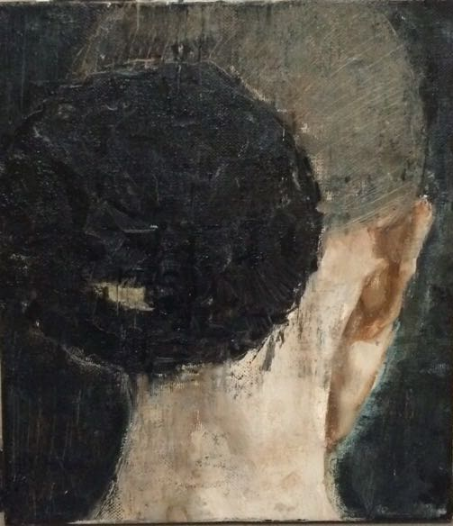 呼吸者肖像-背 35×40cm 布面油画 2016年